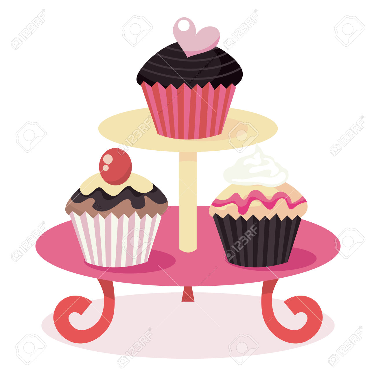 A Vector Illustration Of Cute Cupcakes On A Cupcake Stand. Royalty.