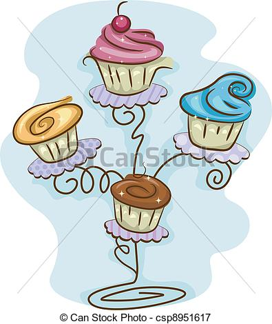 Vectors Illustration of Cupcake Stand.