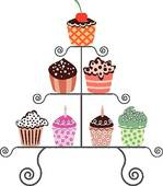 Clip Art of cupcakes on a stand k6099937.