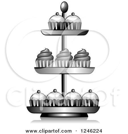Clipart of a Grayscale Cupcake Stand.