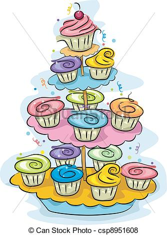 Cupcake stand Vector Clipart Royalty Free. 513 Cupcake stand clip.