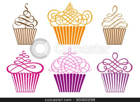 set of cupcakes, vector stock vector clipart, set of.