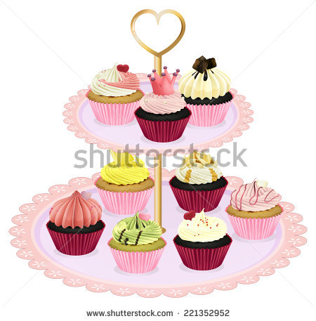 Illustration Cupcake Tray Pink Cupcakes On Stock Vector 195265148.
