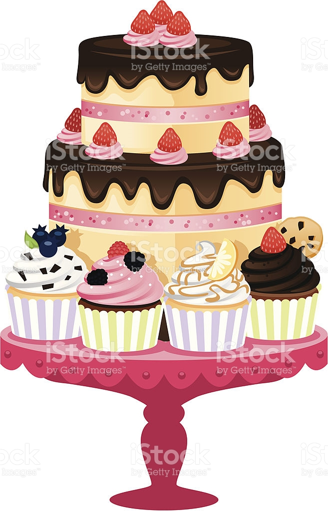 Cake And Cupcake Tray stock vector art 475925373.