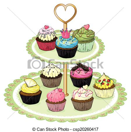 Vector Clip Art of A cupcake tray with cupcakes.