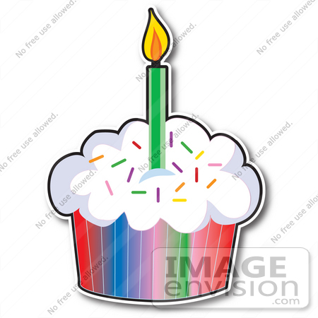 Birthday Cupcakes With Candle.