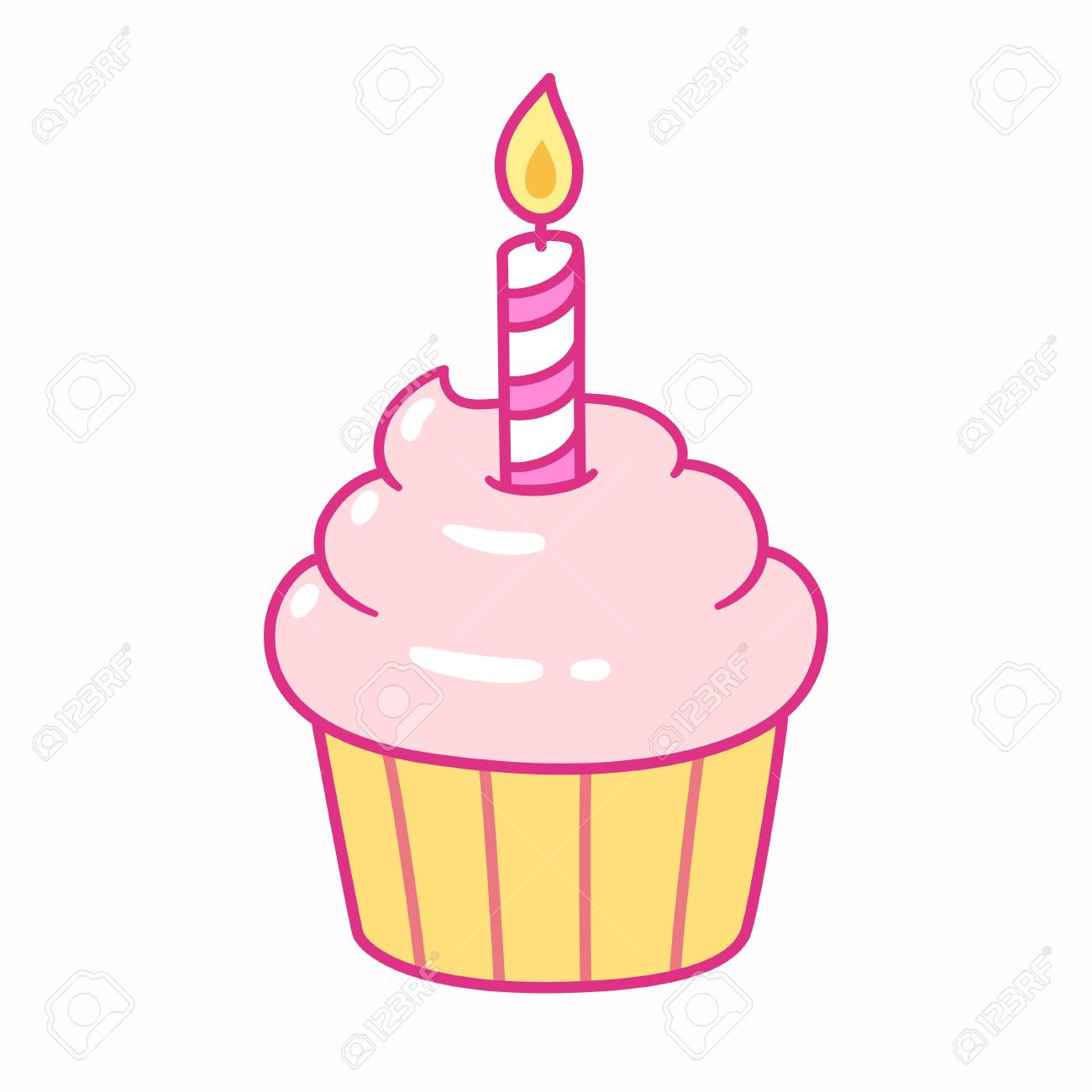 Cute pink cupcake with birthday candle, cartoon drawing. Isolated...