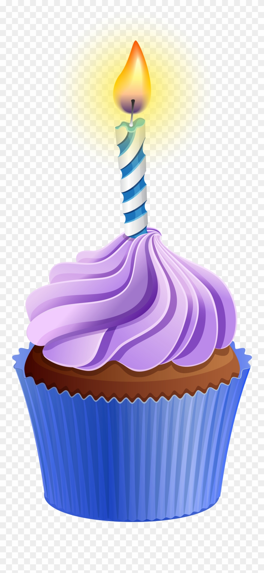 Cupcake With Candle Clipart.