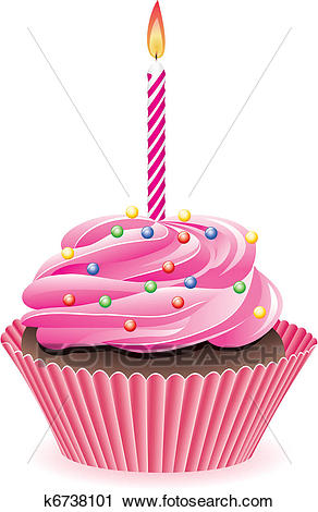 Cupcake with burning candle Clipart.