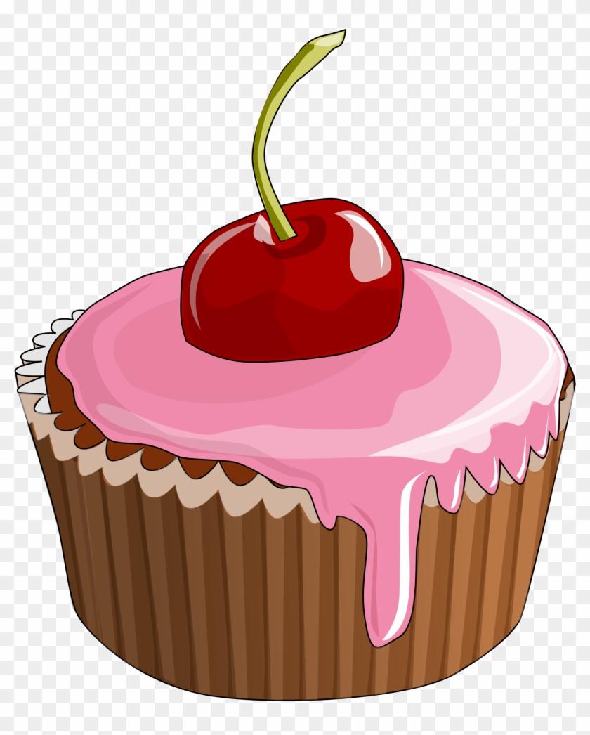 Cartoon Cupcake Cherry On Top Cupcake Png, Cupcake.