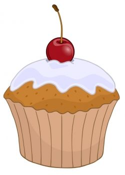 Cherry Top Cupcake Clipart.