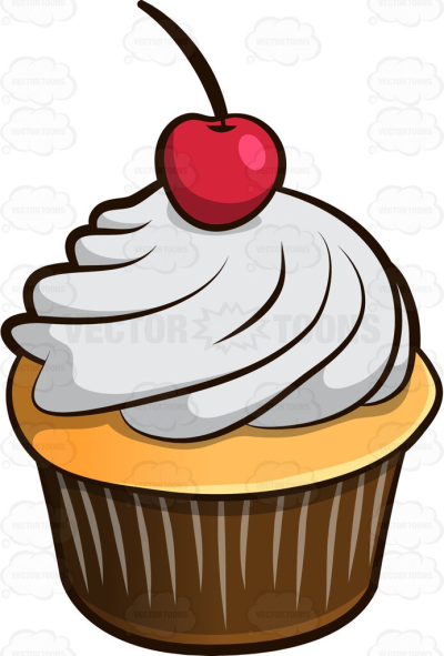A Sweet Cupcake With Cherry On Top.