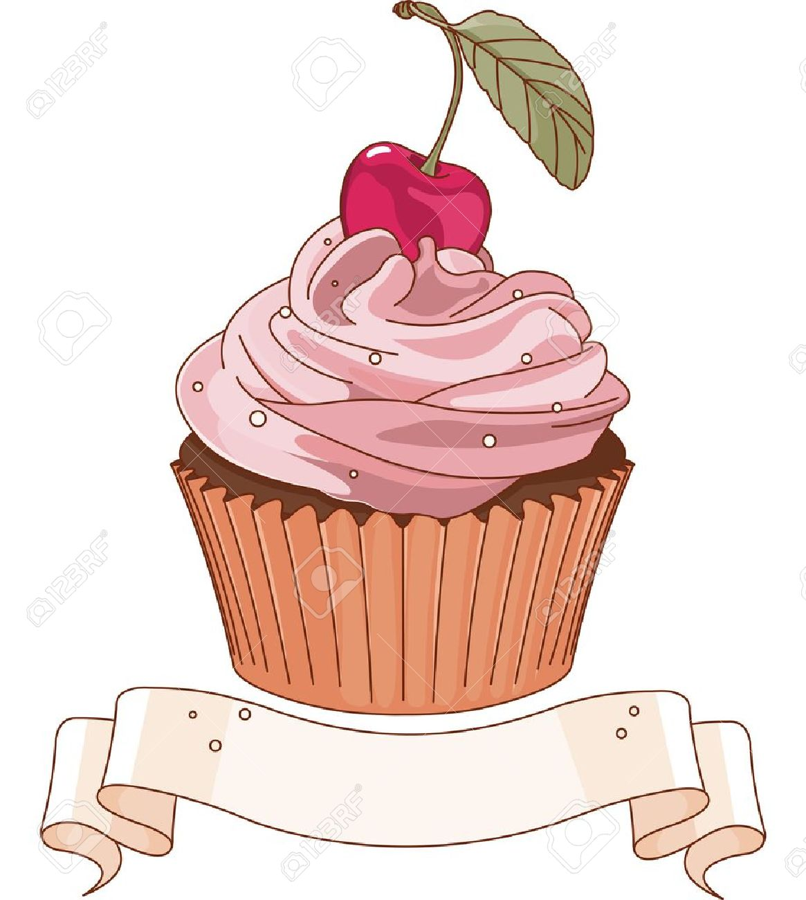 Beautiful cupcake with cherry on the top.
