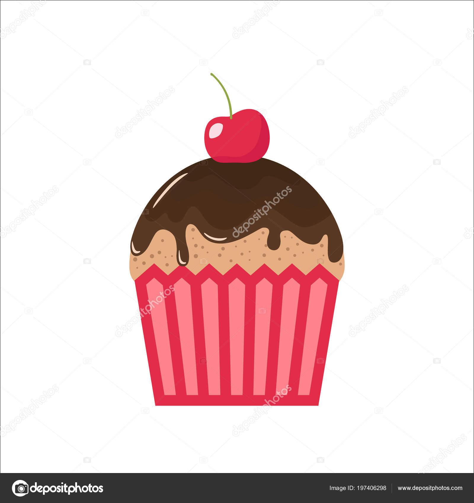Cartoon Chocolate Cupcake Cherry Top Clipart Cupcake Cartoon.