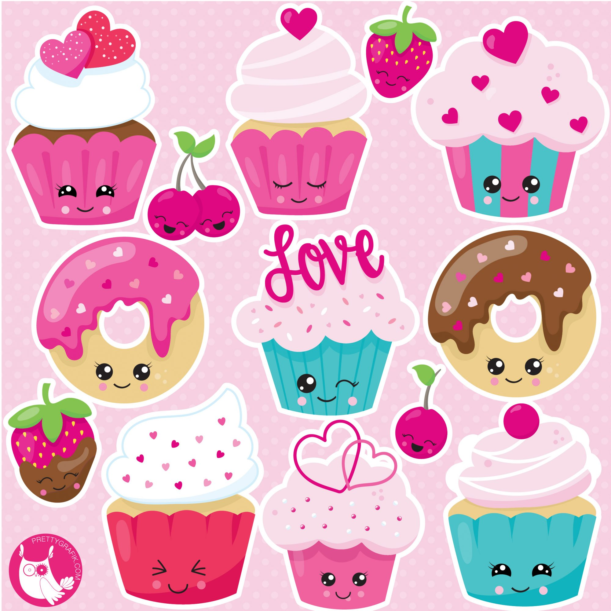 Kawaii cupcake clipart.