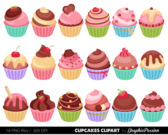 Cupcakes clipart digital cupcake clip art by GraphicPassion.