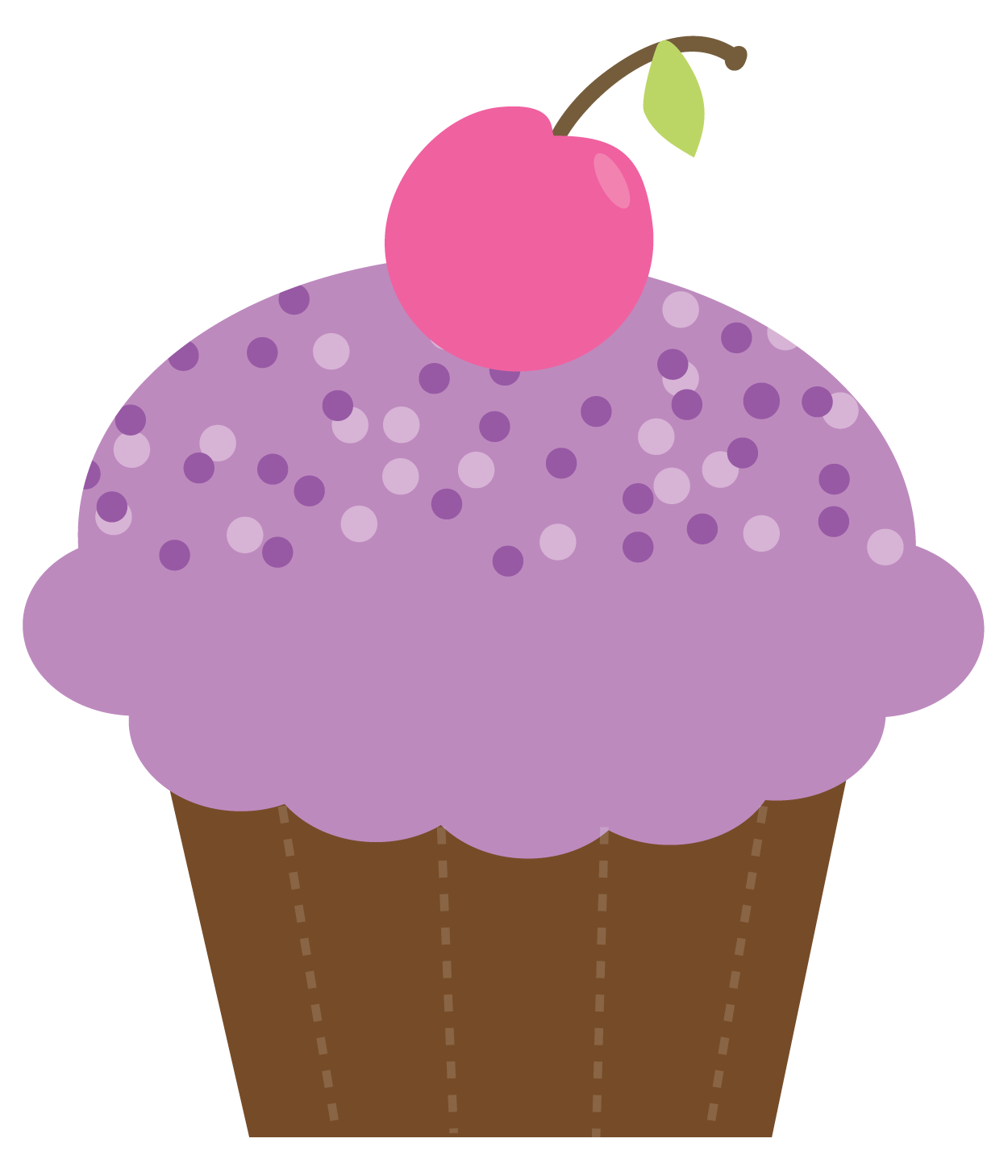 Pink Frosted Cupcake Clip Art.