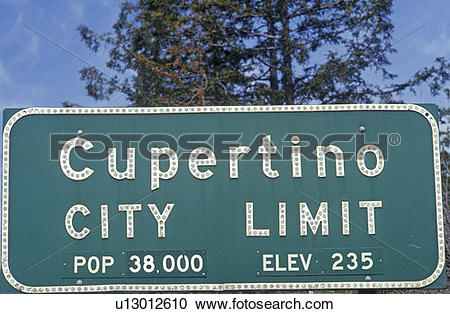 """Stock Photography of """"Cupertino City Limit"""" sign, Cupertino."""