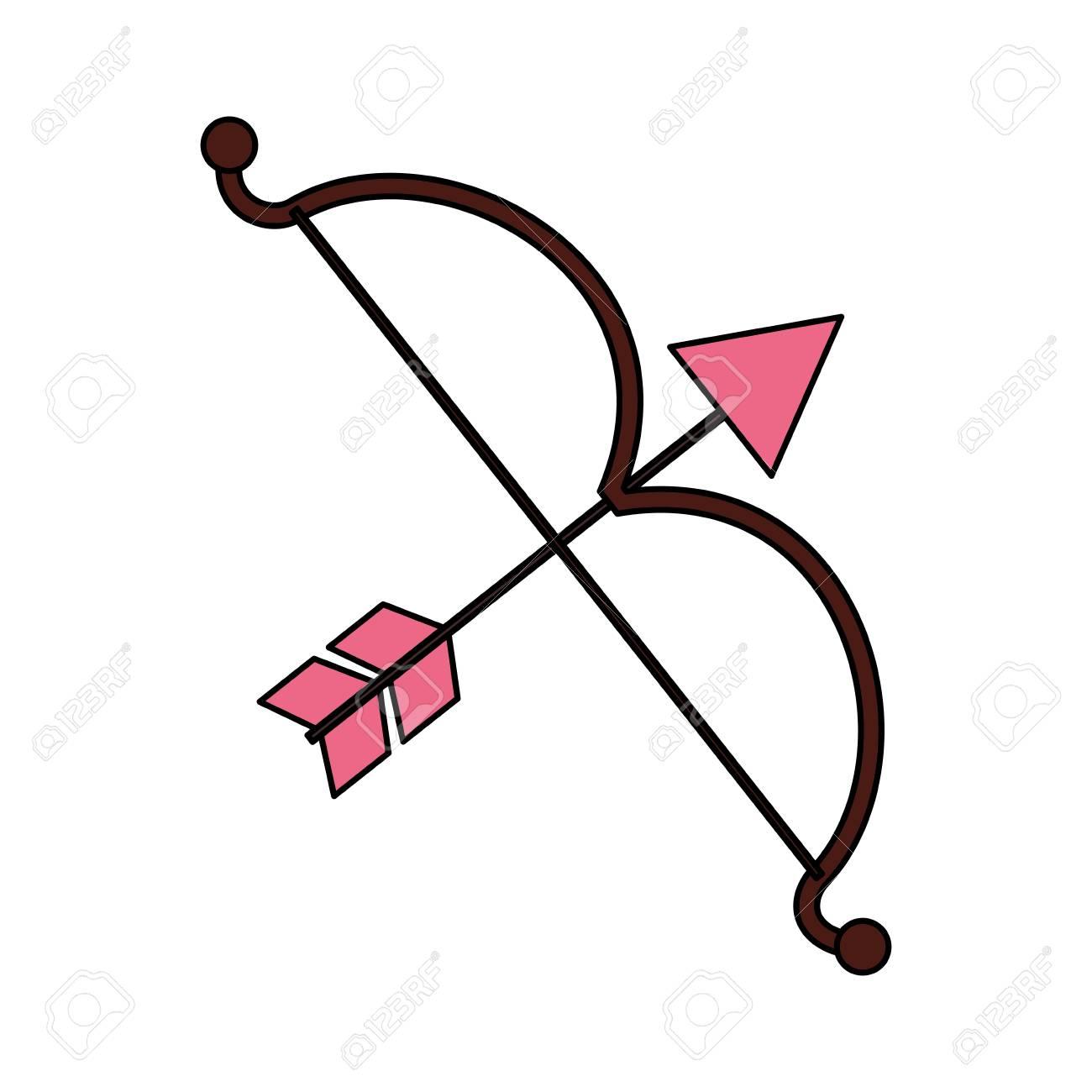 cupid bow arrow valentine day vector illustration.
