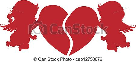 Vectors Illustration of Silhouette Cupids with Heart.