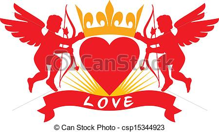 Vector Illustration of two cupids, heart and crown (cupid.