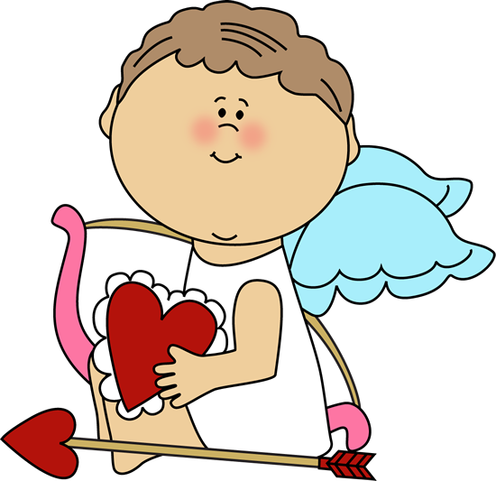 Cupid Holding a Valentine Heart Clip Art.