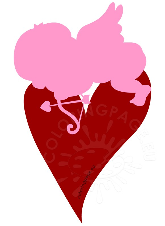 Cupid sleeping on heart clipart.