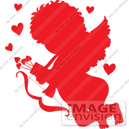 Clip Art Grapic of Cupid Flying With Hearts, Arrows And A Bow.