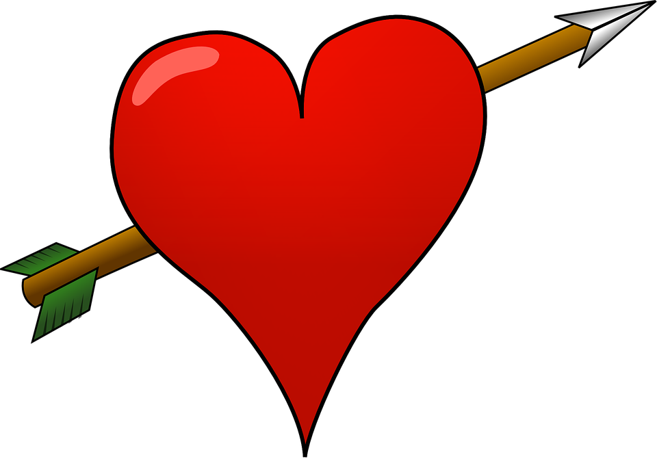 Free vector graphic: Heart, Cupid, Pierced, Red, Arrow.