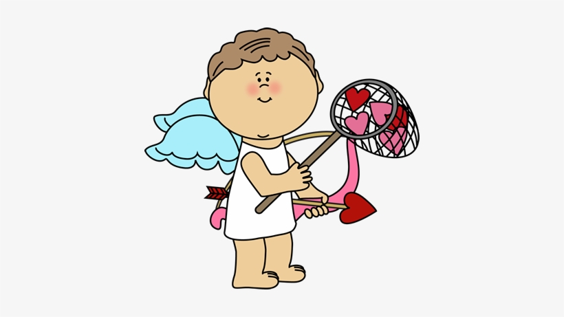 Cupid Catching Valentine Hearts Clip Art.