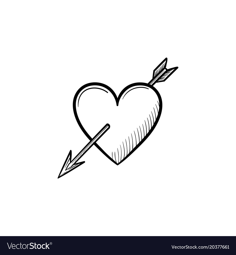 Love heart with cupid arrow hand drawn sketch icon.