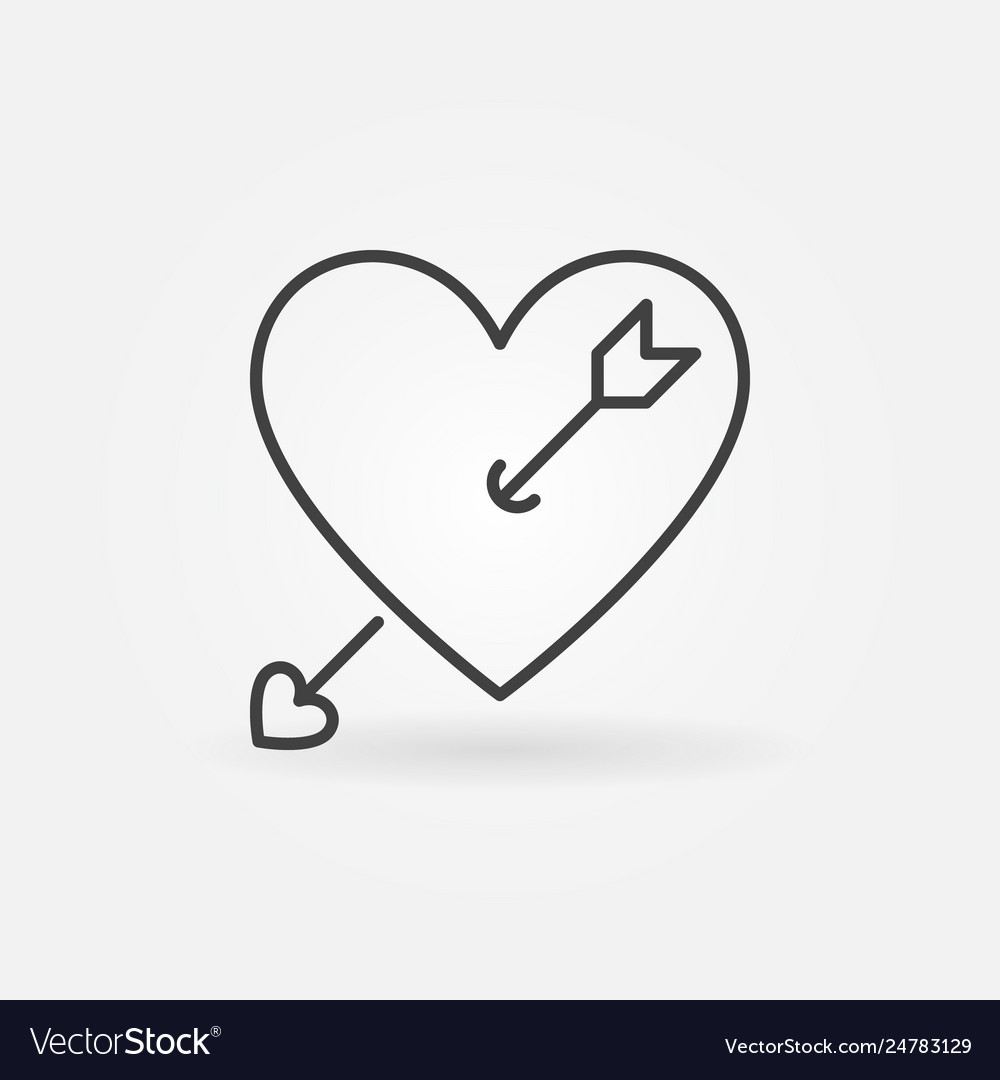 Heart with cupid arrow outline icon or logo.