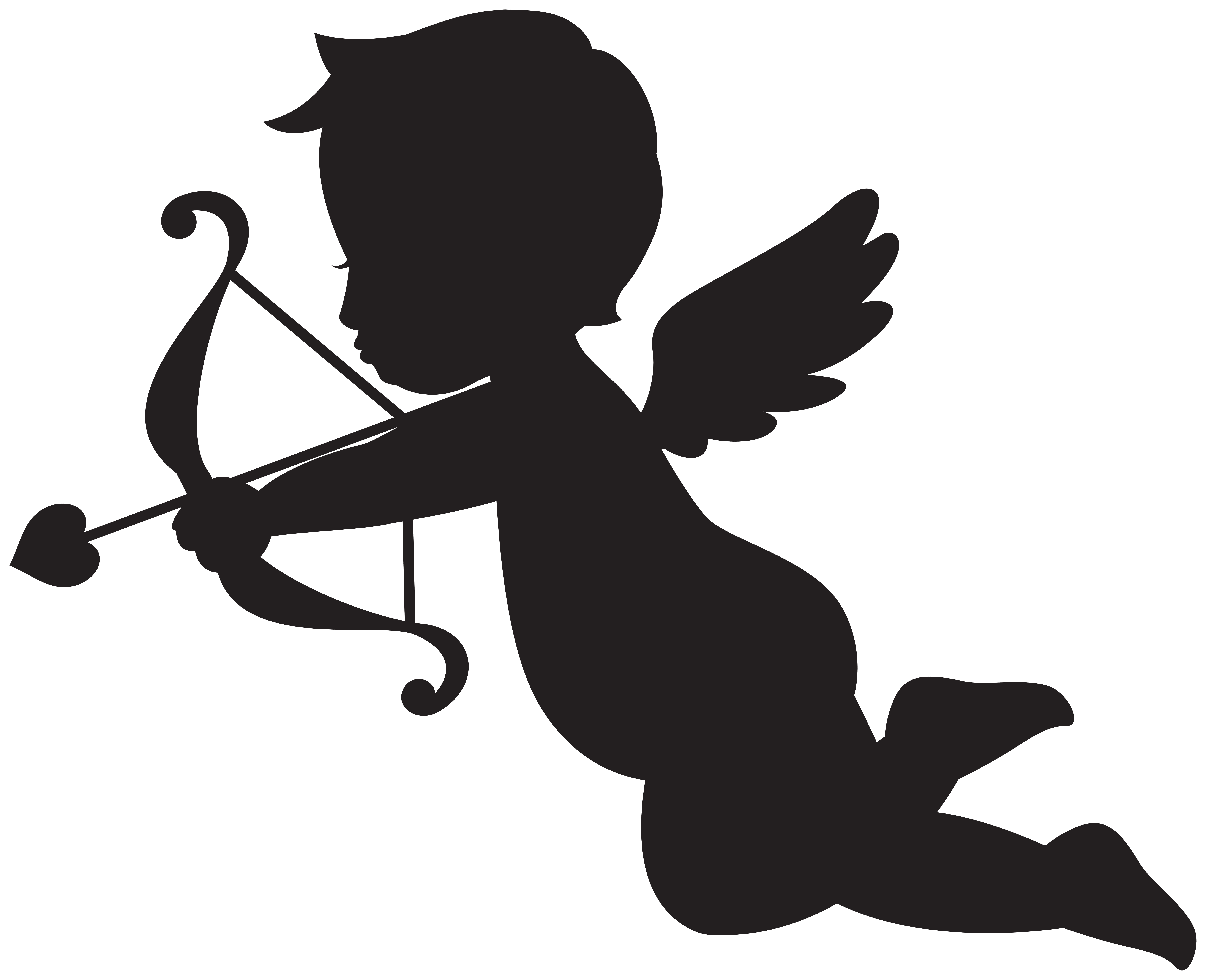 Cupid Silhouette Transparent Image.