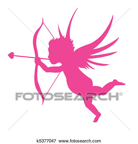 Pink Cupid Silhouette Clip Art.