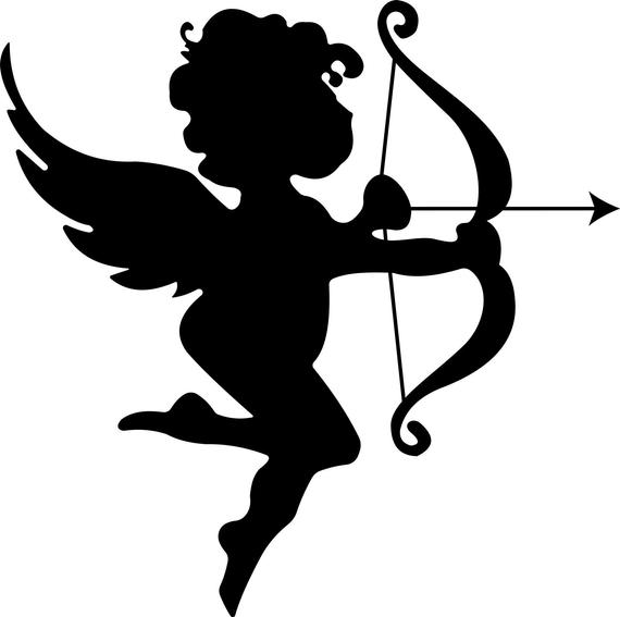 Valentine's Day Cupid Silhouette Clipart in SVG, EPS, PNG.