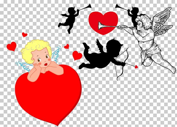 Cupido y psique silueta, cupido. PNG Clipart.