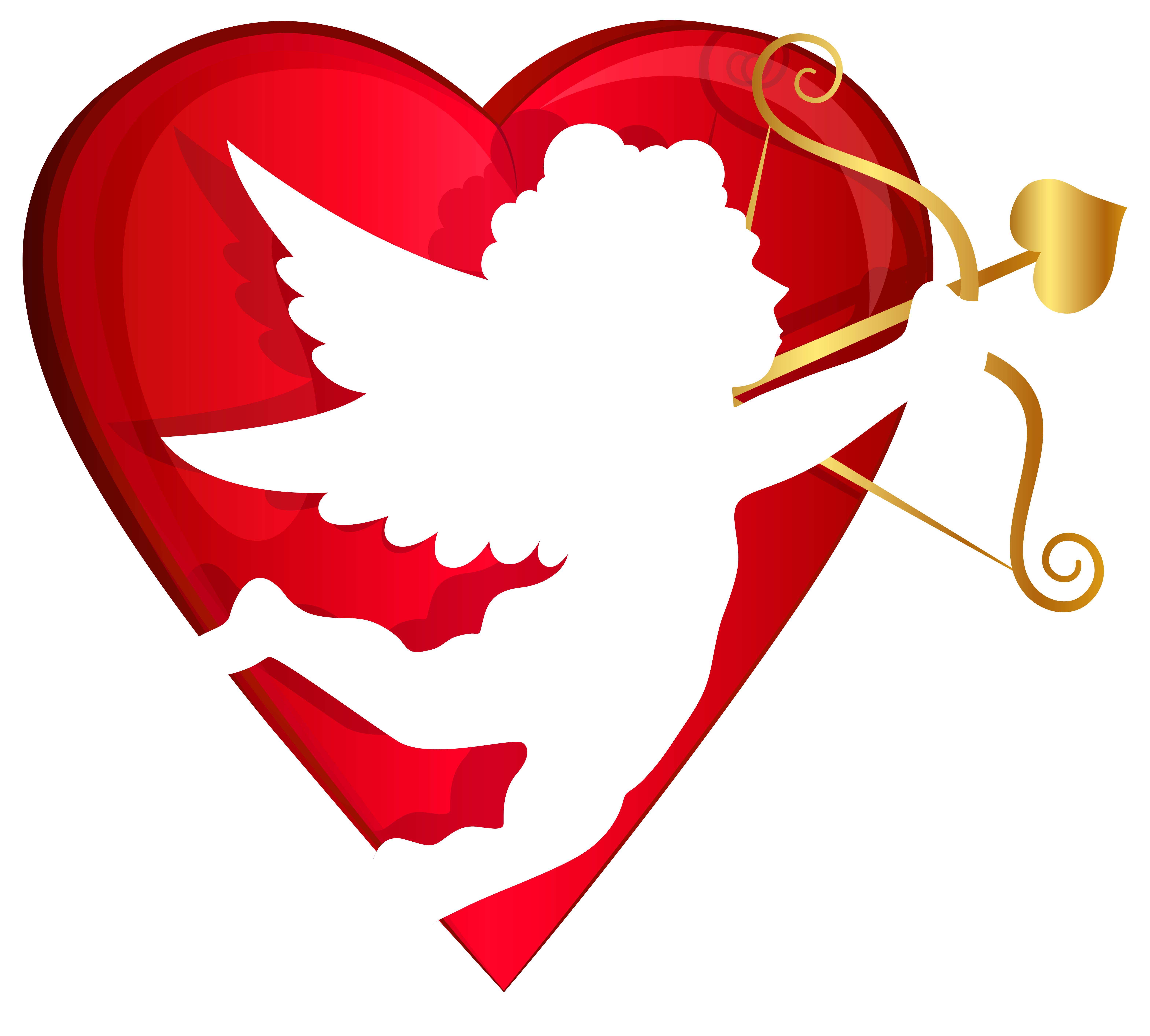 Red Heart and Cupid Transparent PNG Clip Art Image.