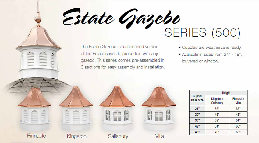 Gazebo Series Cupolas by Weathervanes of Maine, Inc..
