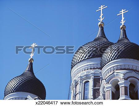 Picture of Estonia, Tallinn, Alexander Nevsky Cathedral, cupolas.