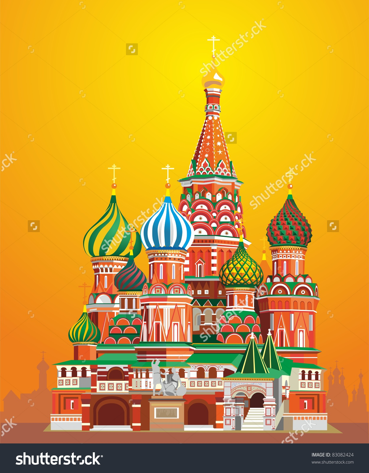 Saint Basil Cathedral On Sunset Russia Stock Vector 83082424.