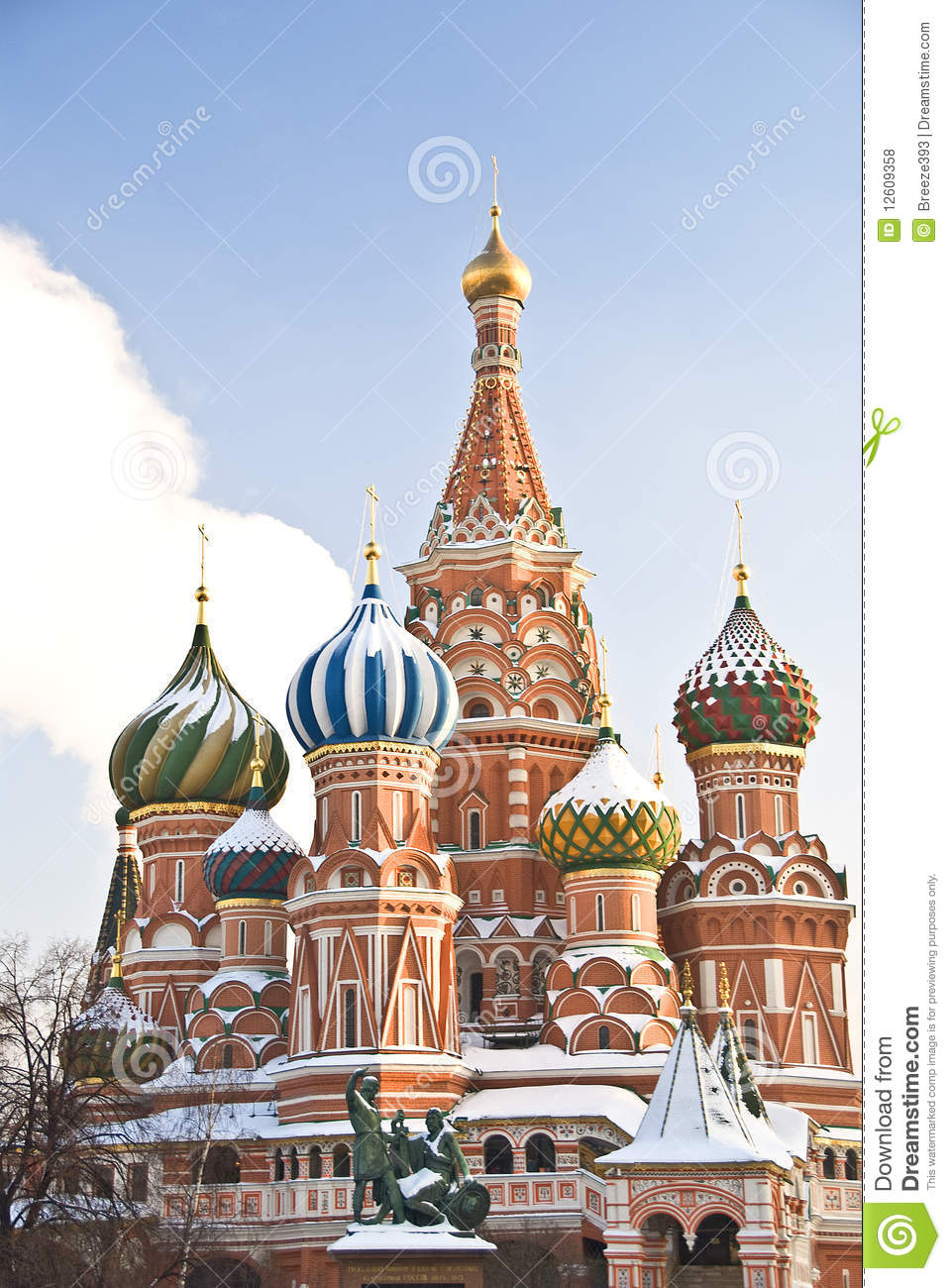 St. Basil's Cathedral In Winter, Moscow Royalty Free Stock Photos.