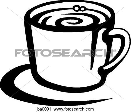 Clipart of cuppa joe b&w jba0091.