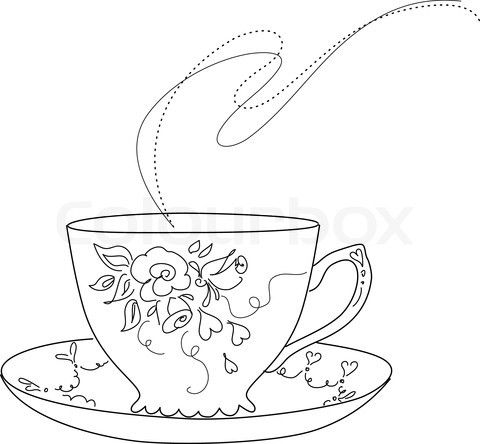 free sketch of fancy tea cup and saucer.