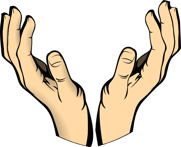 Cupped hands clip art.