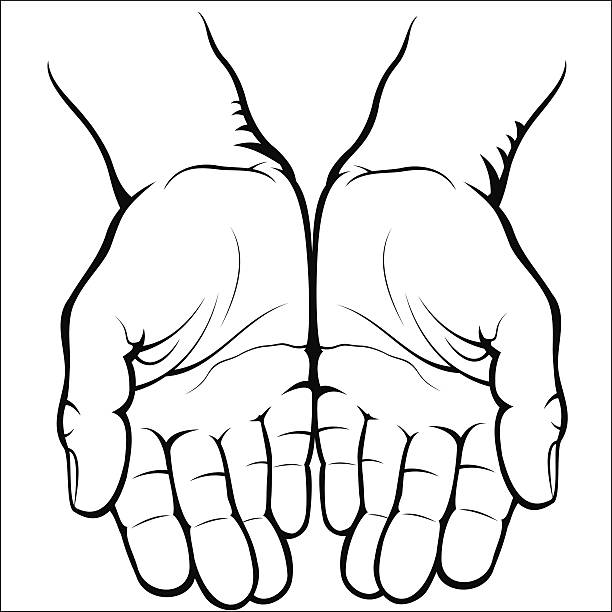 Open Hand Clipart Black And White.