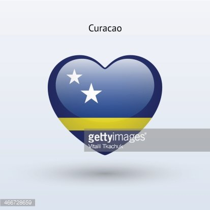 Love Curacao symbol. Heart flag icon. Clipart Image.