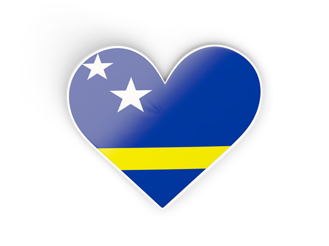Heart sticker. Illustration of flag of Curacao.