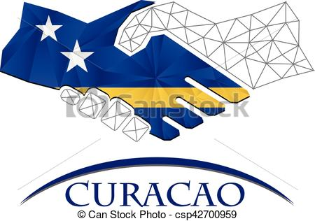 Handshake logo made from the flag of Curacao..