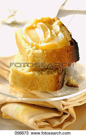 Stock Photo of lemon cake with lemon curd (topic: winter desserts.