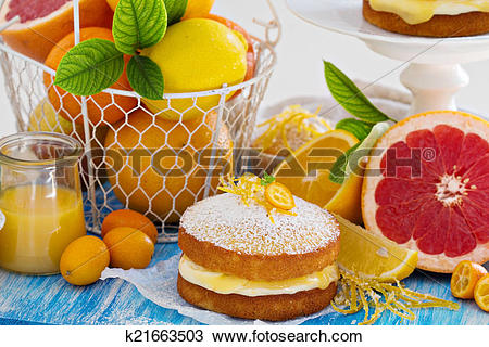 Stock Photo of Citrus Victoria Sponge Cake with Lemon Curd.
